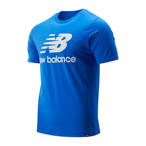 New Balance Mens Blue Essentials Stacked Logo Tee T-Shirt