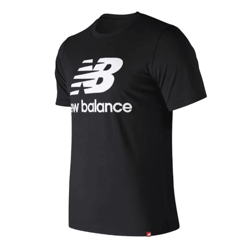 New Balance Mens Black Essentials Stacked Logo Tee T-Shirt