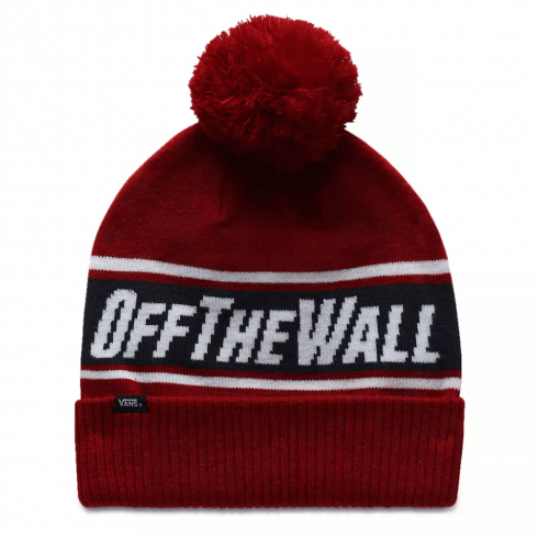Vans Red Off The Wall Pom Beanie Hat