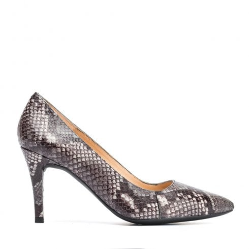 Unisa Ladies Tola Ginger Snake Effect Pointed Court Shoes