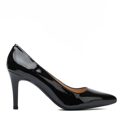Unisa Ladies Tola Black Patent Court Shoes