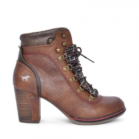 Mustang Block Heeled Lace Up Ankle Boots - Brown