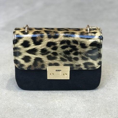 Glamour Leopard Patent Print Suede Rene Handbag