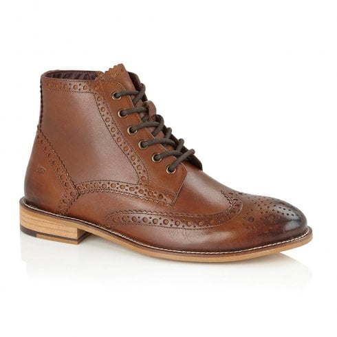 London Brogues Mens Gatsby Chestnut Leather Lace Up Boots