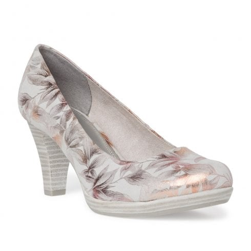 Marco Tozzi High Heeled Low Platform Court Pumps - Grey Flower