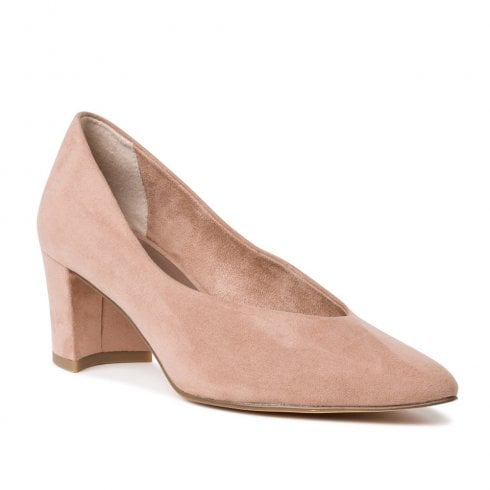 Marco Tozzi Mid Trapeze Heel Pointed Tip Pumps - Nude