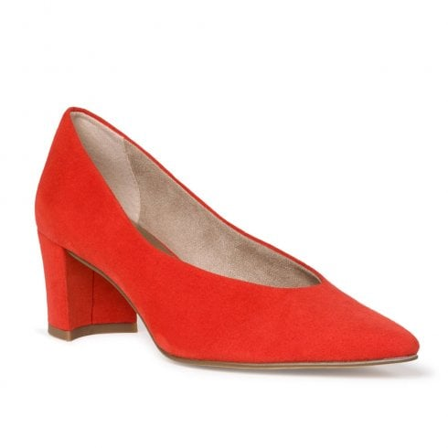 Marco Tozzi Mid Trapeze Heel Pointed Tip Pumps - Red Fire