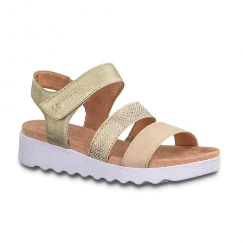 Soft Line Jana Womens Flat Wedge Velcro Strap Sandals - Rose