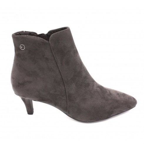 Tamaris Womens Anthracite Suede Mid Stiletto Ankle Boots - 25072