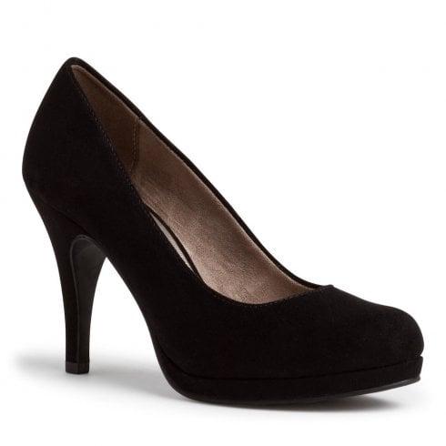 Tamaris Womens Black Suede Court Heels