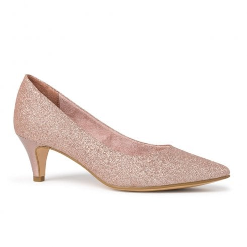 Tamaris Womens Glitter Rose Court Low Heels