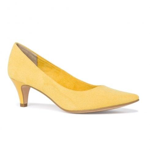 Tamaris Womens Yellow Suede Court Low Heels