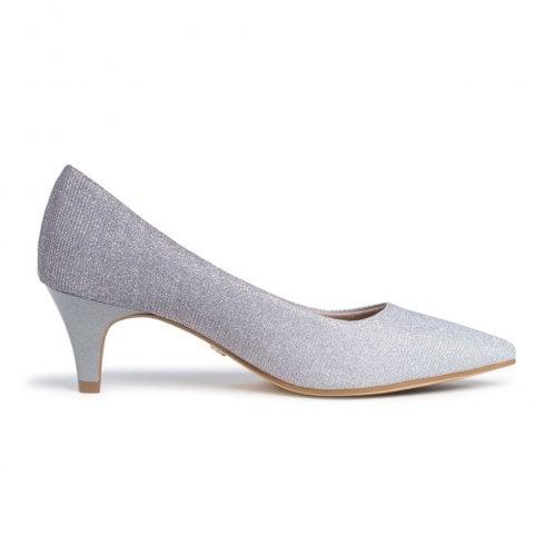 Tamaris Womens Silver Glitter Court Low Heels