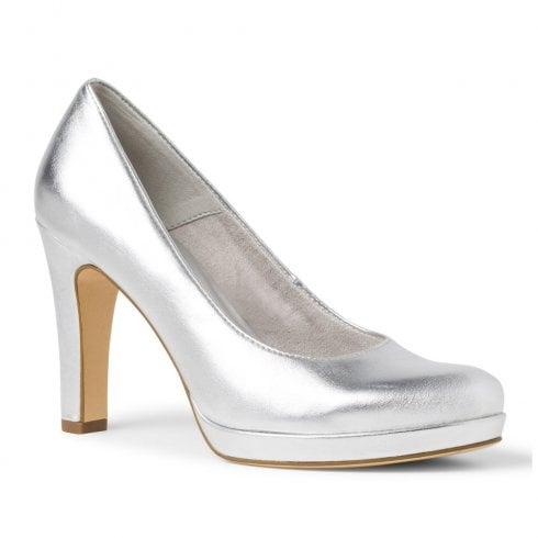 Tamaris Womens Silver Patent Court Platform High Heels