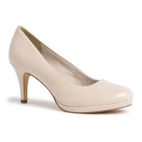 Tamaris Womens Cream Patent Court High Heels