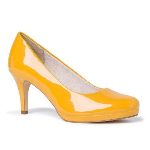 Tamaris Womens Yellow Saffron Patent Court High Heels
