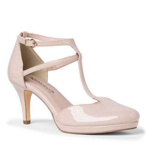 Tamaris Womens Nude Patent Ankle Strap Court High Heels