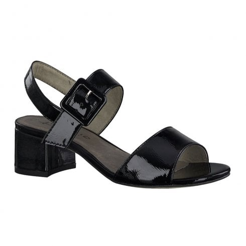 Tamaris Womens Black Patent Mid Heeled Sling Back Sandals