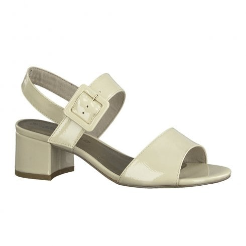 Tamaris Womens Cream Patent Mid Heeled Sling Back Sandals