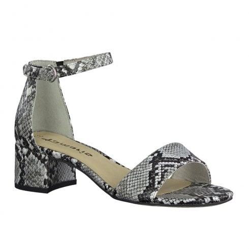 Tamaris Womens Grey Snake Low Heeled Ankle Strap Sandals