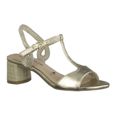 Tamaris Womens Gold Mid Heeled Sling Back Sandals - 28219-24