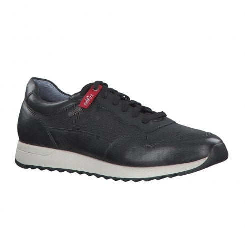 S.Oliver Mens Leather Casual Laced Sneaker Shoes - Black