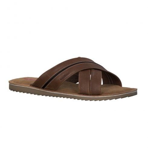S Oliver S.Oliver Mens Leather Slip On Sandals Shoes - Cognac Brown
