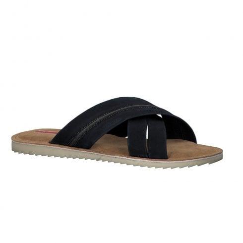 S Oliver S.Oliver Mens Leather Slip On Sandals - Navy