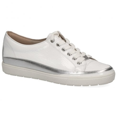 Caprice Women's Patent Leather Flat Trainers - White