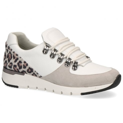 Caprice Women's Leather Flat Wedge Sneakers- White Leopard