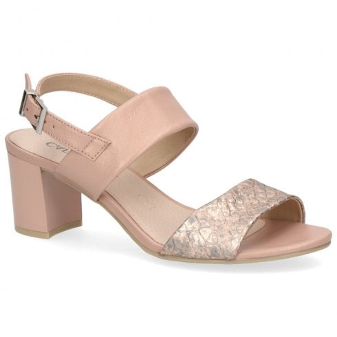 Caprice Women's Leather Block Heeled Sandals - Rose