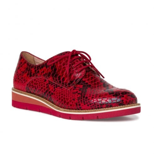 Tamaris Womens Low Wedge Sneakers Shoes - Red Chili Snake