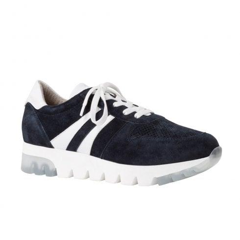 Tamaris Womens Nubuck Sneakers Shoes - Navy Suede