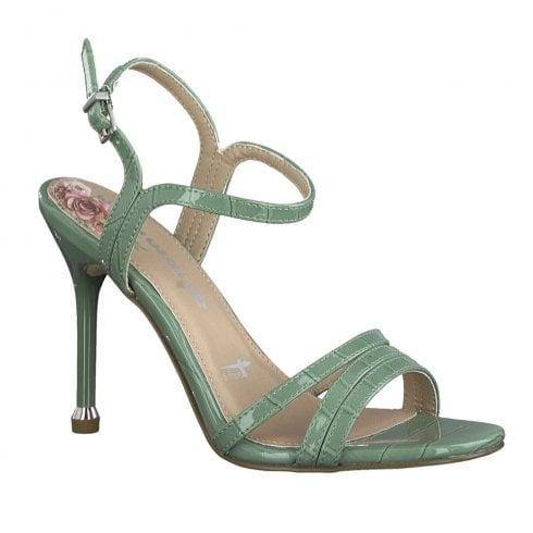 Tamaris Womens Patent Leather High Heel Sandals - Sage Green