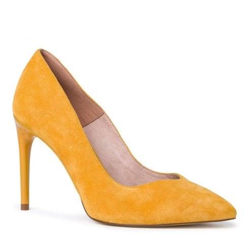 Tamaris Womens Nubuck Slip On Court High Heels - Saffron Yellow
