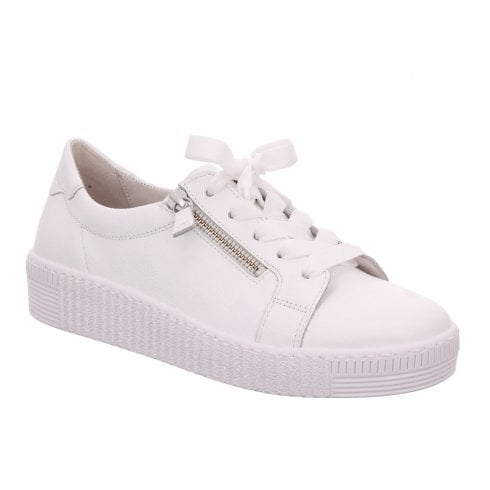 Gabor Womens Wisdom White Leather Chunky Flatform Sneakers Shoes