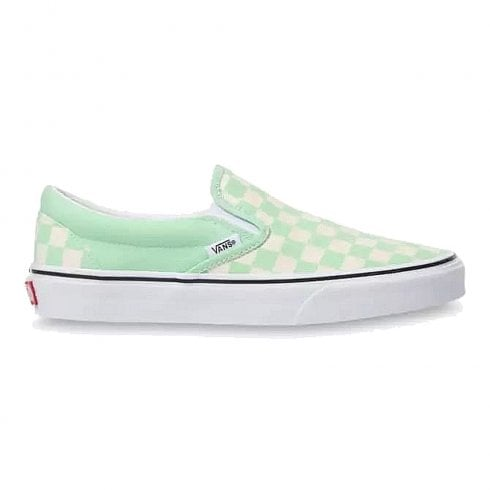 Vans Womens Classics Slip-On Checkerboard Sneakers - Mint White