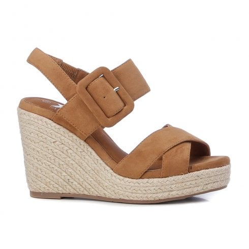 XTI Womens Camel Wedged Heeled Sandals