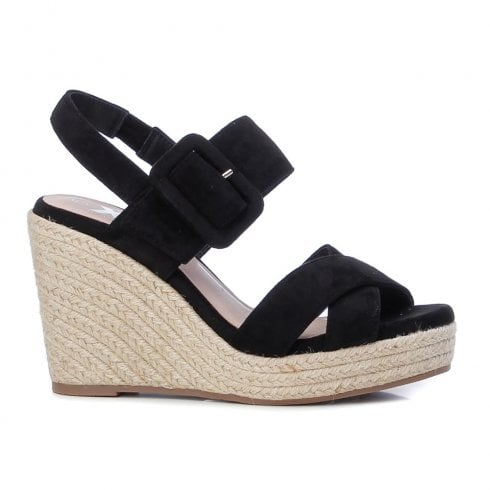 XTI Womens Black Wedged Heeled Sandals
