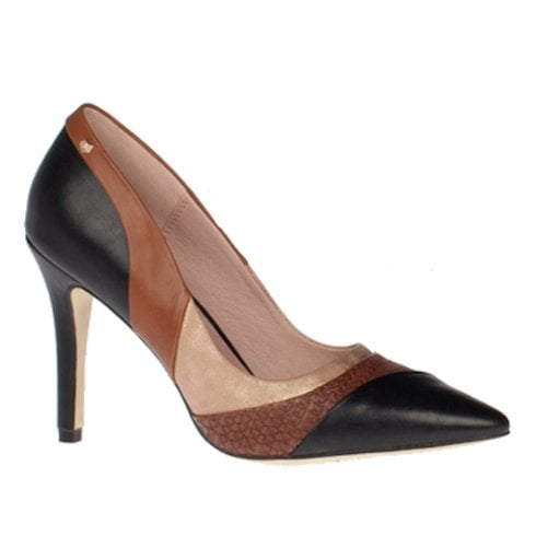 Kate Appleby Snowdon Black Tan Heeled Pointed Court Shoe