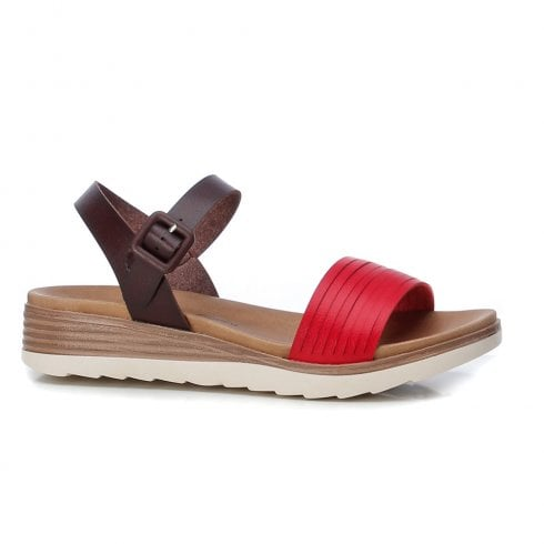 XTI Womens Red Low Wedged Sandals