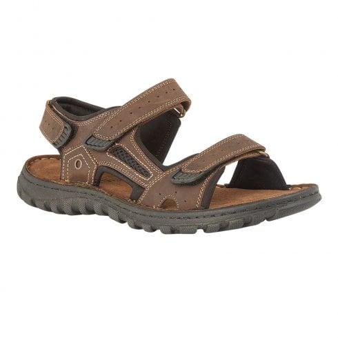 Lotus Douglas Brown Leather Mens Velcro Sandals