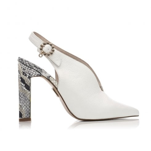 Moda In Pelle Cari White Leather Slingback Pointed Toe High Heel Sandals