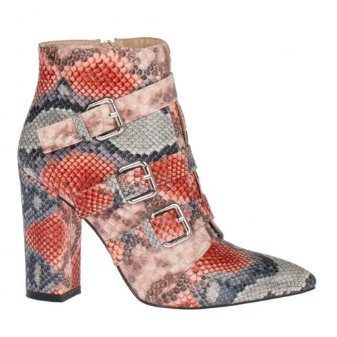 Una Healy Midnight Rider Candy Cobra Grey Red High Heel Ankle Boots