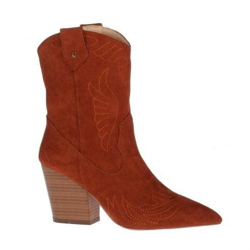 Una Healy Jolene Gingerbread Suede High Heel Cowboy Style Long Boots