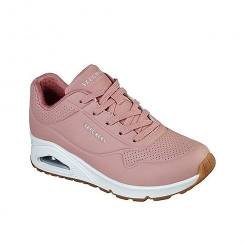 Skechers Womens Street Uno Stand Classic Rose Leather Sneakers - 73690