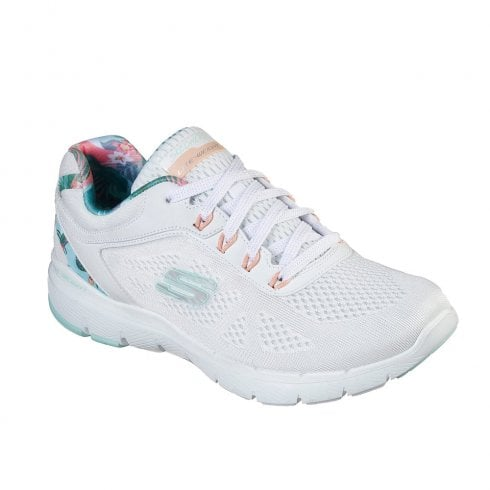 Skechers Womens Flex Appeal Tropical Princess White Mesh Sneakers