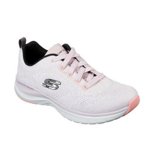 Womens Skechers Ultra Groove 149019 Memory Foam Black Pink Trainers