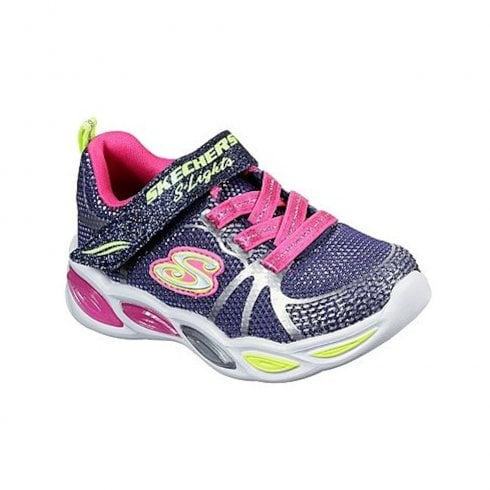 Skechers Infant S Lights Shimmer Beams Sporty Glow Mesh Navy Sneakers