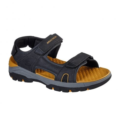 Skechers Mens Relaxed Fit Tresmen Hirano Black Casual Velcro Sandals - 204106